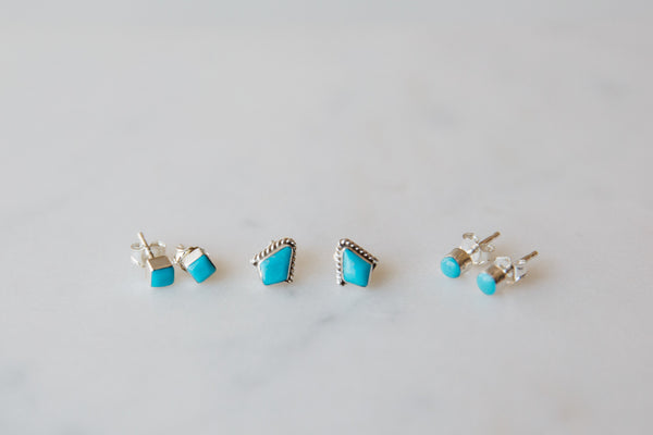 Native American Made Dainty Silver & Turquoise Stud Earrings