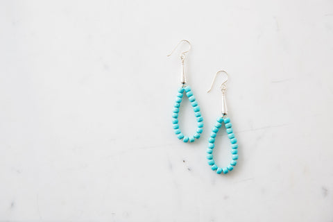 Native American Made Turquoise Bead Drop Earrings