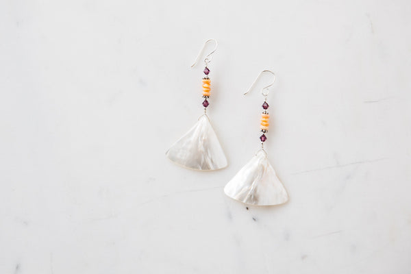Native American Geometric Shell & Bead Drop Earrings