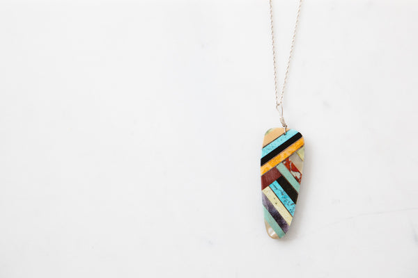 Native American Made Turquoise, Coral & Onyx Stone Inlay Pendant Necklace