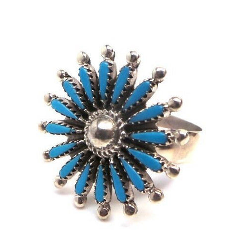 VINTAGE ZUNI STYLE NEEDLEPOINT TURQUOISE & STERLING SILVER STARBURST RING