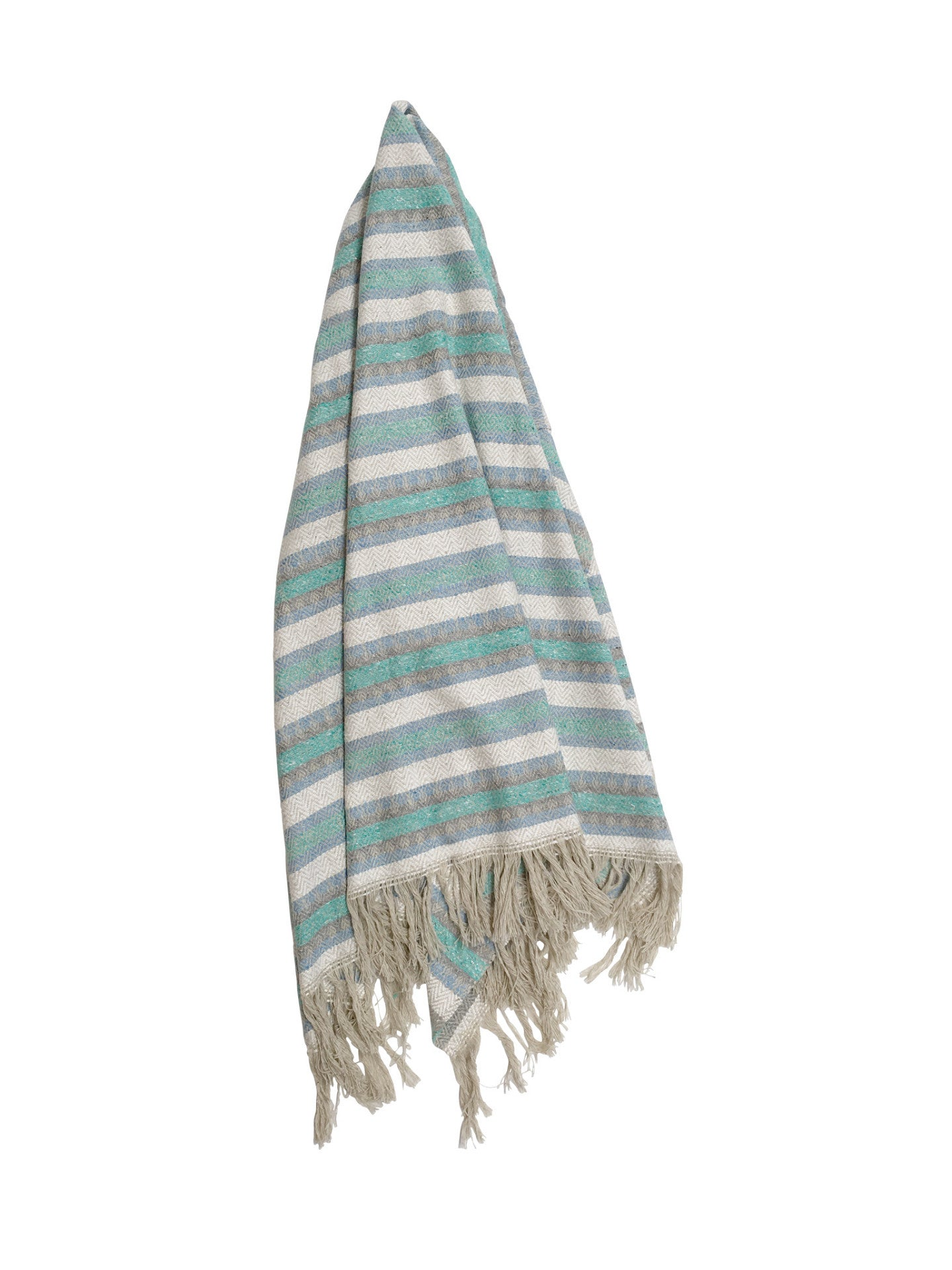 The Curacao: Pastel Blue, Mint, Grey & Off-White Striped Mexican Blanket