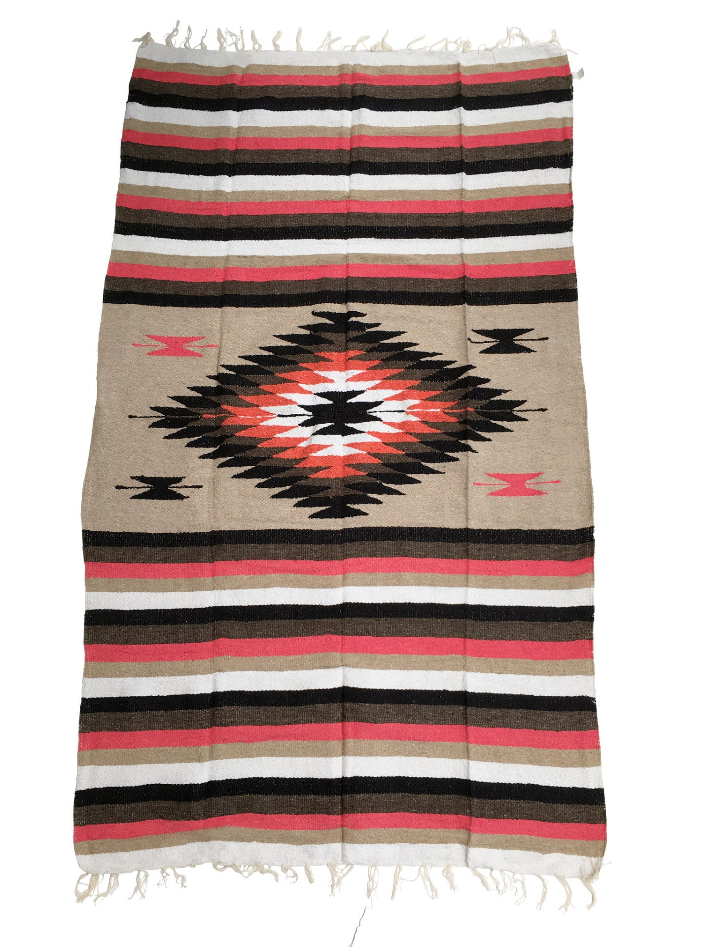 The Neon Prism Blanket: Neon + Earth Tone Heavy Weight Diamond Mexican Blanket