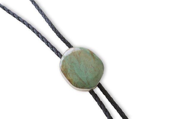 NATIVE AMERICAN NAVAJO MADE KINGMAN TURQUOISE BOLO TIE NECKLACE