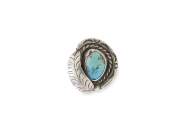 VINTAGE TURQUOISE RING WITH FEATHER DETAIL