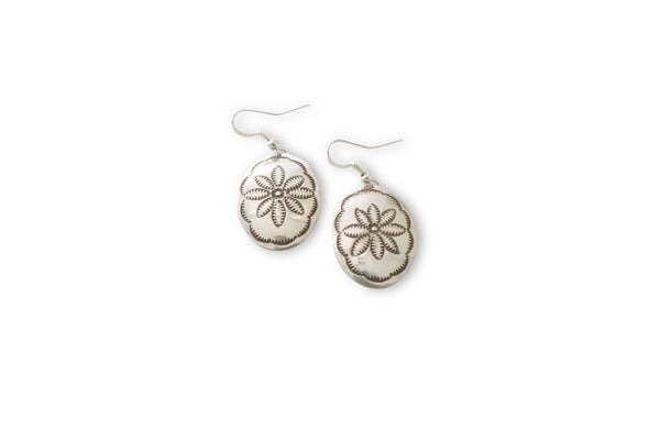 NATIVE AMERICAN MADE SILVER CONCHO EARRINGS