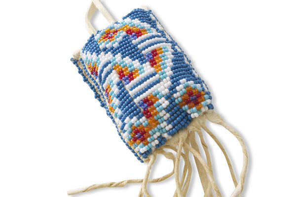 NATIVE AMERICAN HANDMADE BEADED LEATHER MEDICINE BAG
