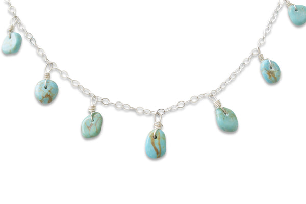 NATIVE AMERICAN MADE TURQUOISE DROP NECKLACE