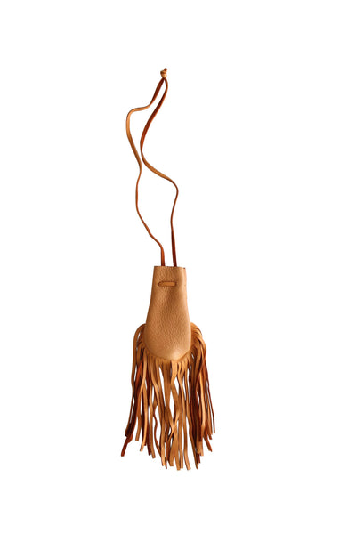 NATIVE AMERICAN HANDMADE LEATHER FRINGE MEDICINE BAG / NECKLACES