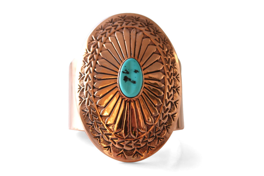 The Concho Cobre: Native American Navajo Made Copper & Turquoise Bracelet