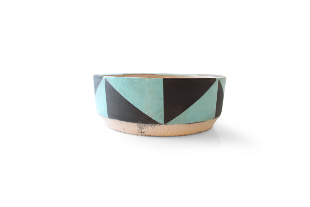 Black & Turquoise Geometric Ceramic Pottery Dish