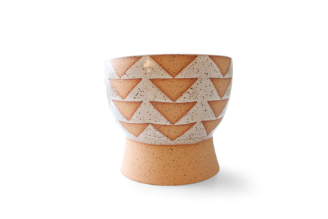 Round White & Tan Geometric Ceramic Pottery Planter