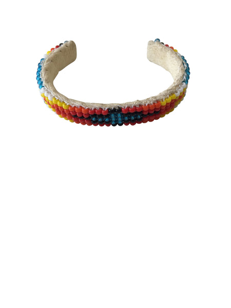 Baby / Child Native American Handmade Woven Beaded Bracelets on Leather