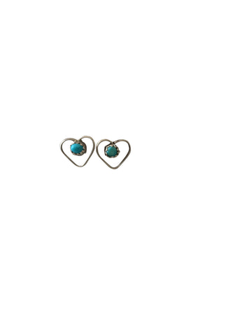 Dainty Silver & Turquoise Heart Stud Earrings