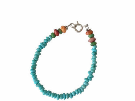 MINI SANTO DOMINGO TURQUOISE BEADED KID OR BABY BRACELETS