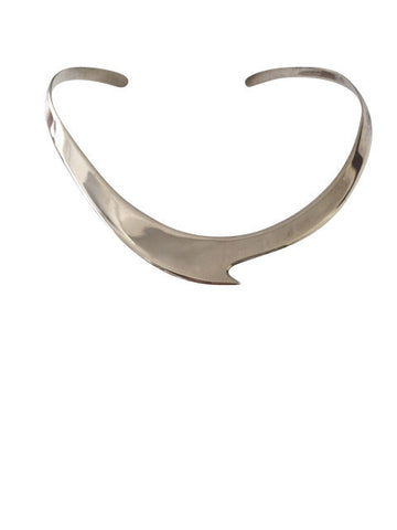 Vintage Sterling Silver Wave Choker Necklace / Mexico