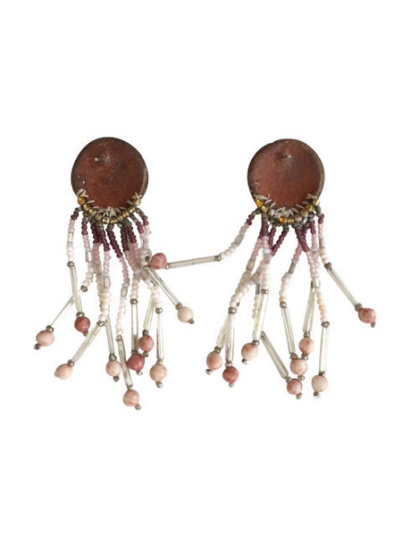 VINTAGE BEADED CONCHO EARRINGS