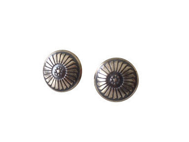 NATIVE AMERICAN MADE DAINTY SILVER CONCHO EARRINGS