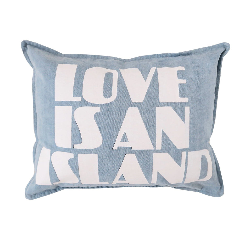 Love Is An Island Denim Pillow Cushion