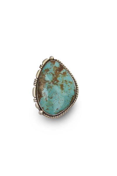 NATIVE AMERICAN NAVAJO MADE LARGE STATEMENT TURQUOISE & STERLING SILVER RING