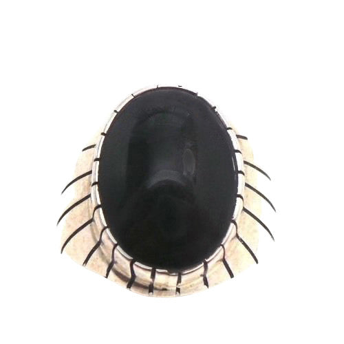 NAVAJO ONYX STERLING SILVER MEN'S RING