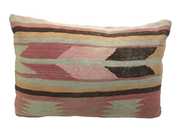 Vintage Faded Arrow Geometric Lumbar Turkish Kilim Pillow
