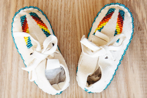 One of a Kind Native American-Made Baby Moccasins - White Suede & Rainbow Beads