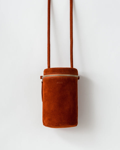 Cylindrical Rust Suede Leather Cross Body Purse