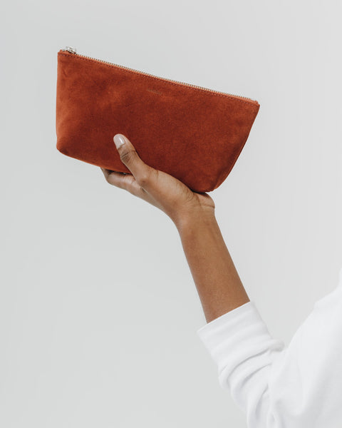 Rust Suede Cosmetic Pouch