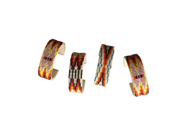 Native American Handmade Woven Beaded Bracelets on Leather
