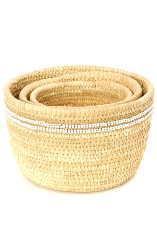 African Handmade Beaded Palm Leaf Accent Basket