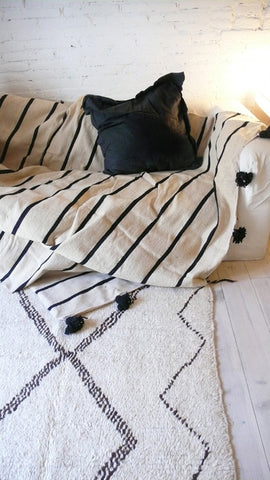 BLACK & WHITE STRIPED MOROCCAN POM POM BLANKET