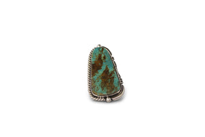 NATIVE AMERICAN NAVAJO MADE BRIGHT TURQUOISE & STERLING SILVER UNIQUE STATEMENT RING