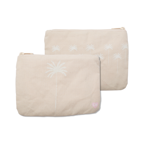 Coco Palm Tree Canvas Zipper Clutch