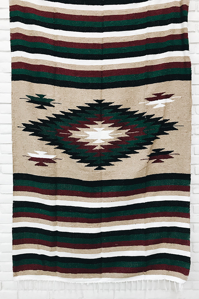 Limited Edition | The Navidad Blanket: Maroon + Dark Green Diamond Heavy Weight Mexican Blanket