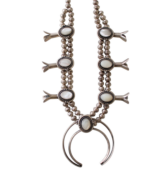 Navajo Sterling Silver & Mother of Pearl Squash Blossom Necklace