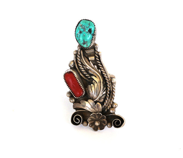 GIANT VINTAGE TURQUOISE & CORAL SILVER RING