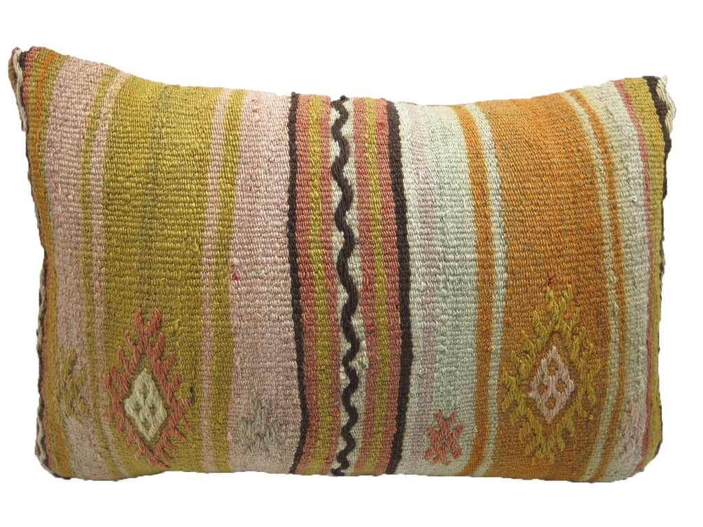 Vintage Diamond Geometric Lumbar Turkish Kilim Pillow