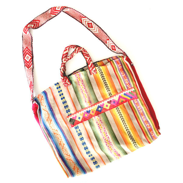 OUR OPEN ROAD COLLECTION: EXTRA LARGE PERUVIAN VINTAGE TEXTILE SHOULDER BAG - FADED COLORS