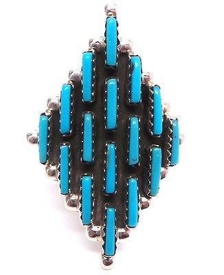 VINTAGE ZUNI GEOMETRIC TURQUOISE & STERLING SILVER RING