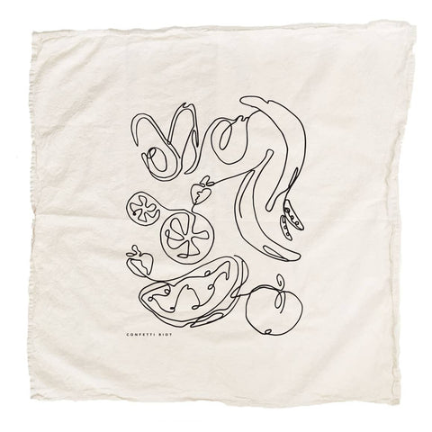 Fruits and Veggies Cotton Tea Towel