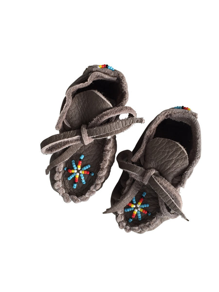 One Of A Kind Native American-Made Newborn Baby Moccasins - Grey/Brown