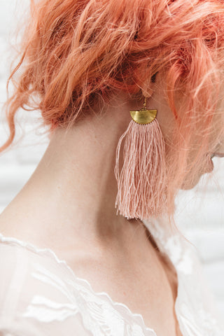 PINK Handmade Linen Fringe Earrings