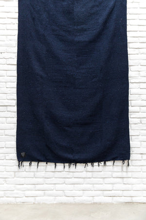 THE ABYSS: DEEP DARK NAVY BLUE & BLACK SOLID MEXICAN BLANKET