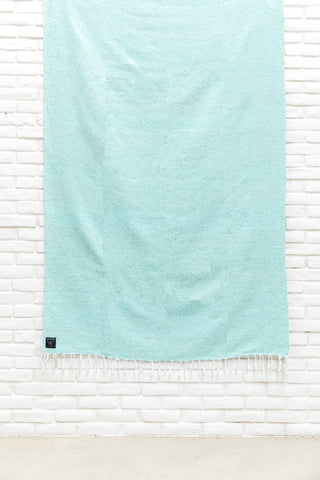 THE ELIA: SEAFOAM / TURQUOISE SOLID MEXICAN BLANKET