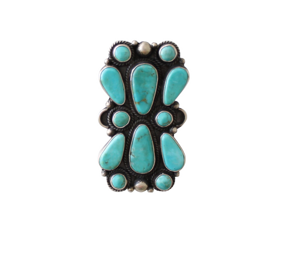 Native American Navajo Style Large Statement Turquoise & Sterling Silver Ring