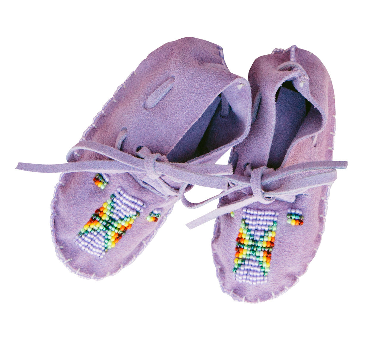 ONE OF A KIND NATIVE AMERICAN-MADE BABY MOCCASINS - Purple Suede