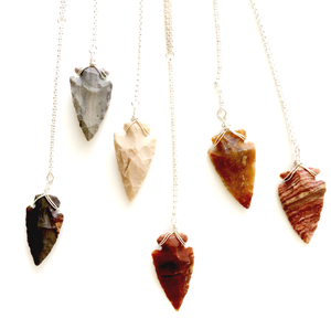 OBSIDIAN & JASPER ARROWHEAD NECKLACES
