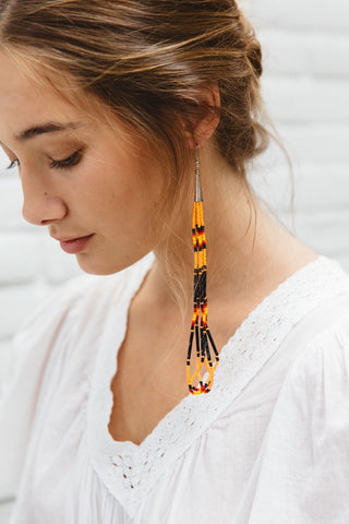 Santo Domingo Earrings // Native American Made Beaded Loop Chandelier Earrings