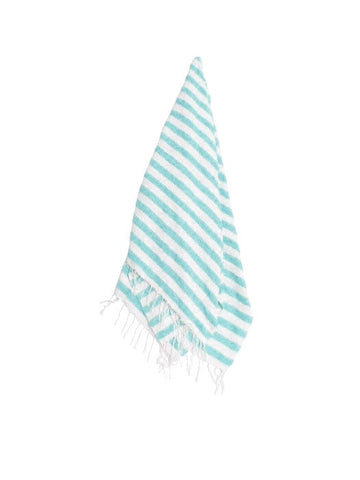 The Nassau: Mint & White Striped Mexican Blanket